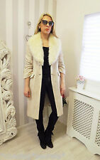 Vintage Cream PLANET TWEED Sparrow-Speckle FUR COLLAR Long Blazer Coat 10 12