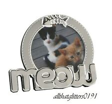 Meow Cat Photo Picture Silver Tone Frame 3x3. Impressions By Juliana.