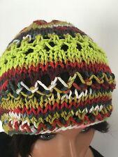 Hand Knit CottonBeanie Hat Slouch Beret Multicolor Hip Boho Lace