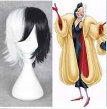 CRUELLA DEVIL 101Dalmatians Cosplay wig short half black white hair full wigs
