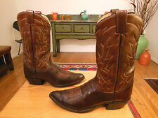 Vtg 70s/80s TONY LAMA Dk. Brown/Med. Brown Leather Western Cowboy Boots 10B USA