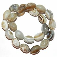 NG2457f Striped Gray Agate 16x12mm - 17x12mm Oval Rice Gemstone Beads 15""