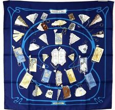 HERMES NWT Marine Blue CARNETS DE BAL Fan Print 90cm Silk Twill Scarf