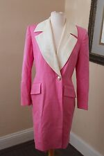Vintage Tahari Ann Taylor Pink Wool Trench Coat Long Jacket Wool Size 6
