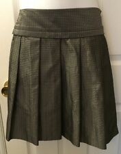 New THEORY Silence Skirt Charcoal Gray Silver Metallic Polka Dots Pleated Sz 0