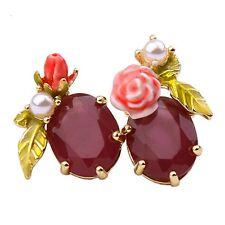 Les Nereides Bloomed Rose Rosebud Burgundy Faceted Glass Stud Earrings