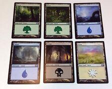 6 MTG Magic the Gathering Basic Land Cards: Forest, Island, Swamp, Plains