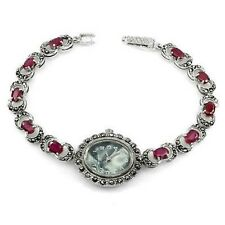 Sterling Silver 925 Lovely Gemset Oval Pink Ruby and Marcasite Watch 7 Inches