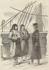 A3333 Capitano di Vascello - Stampa Antica del 1887 - Xilografia