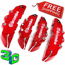 3D RED BREMBO Style Brake Caliper Covers 4 Pieces Front & Rear UNIVERSAL Set