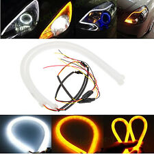 2pcs 12V 60cm Switchback Tube Headlight LED Strip DRL Daytime Running Audi Style