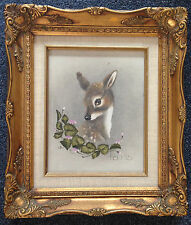 Evil Mastermind Vintage Panda and Fawn Paintings in Gold Plaster Frames