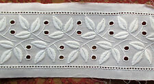 Vin Fabric Lace Swiss Cotton White for Bed Linens Dresses Leaf Cut Work Nice!