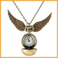 Harry Potter Snitch Watch Necklace Steampunk Quidditch Pocket Clock Pendant HY
