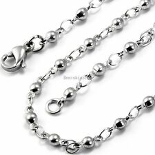 Silver Tone Stainless Steel Link Necklace Round Ball Chain 22 Inch Men's Gifts