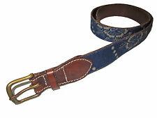Rugby Ralph Lauren Indigo Blue Denim Prairie Floral Brown Leather Polo Belt M