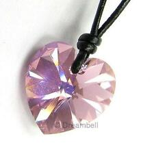 Ajustable Leather  Necklace use Swarovski Elements Crystal Heart Charm pendant