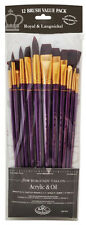 Royal Set of 12 Artists Large Firm Burgundy Brushes. For Acrylic & Oil RSET-9314