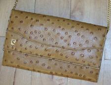 Beautiful Vintage Pierre Cardin Tan Ostrich Leather Clutch Bag