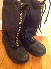 Kids SOREL WINTER SNOW BOOTS SIZE 2 Fast Shipping Blue/Black