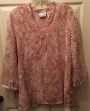 ALFRED DUNNER Plus SIZE 18 LINED POLYESTER FLORAL TOP W/ Beads SHEER SLEEVES