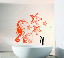 Wall Decals Sea Horse Vinyl Sticker Sea Shells Decal Stars Bathroom Decor kk223