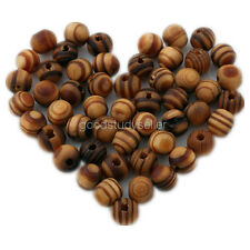 100 Pcs Brown Wood Spacer Loose beads Bracelets findings charms 8mm