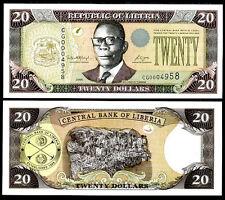 LIBERIA 20 DOLLARS 2006 P 28 c UNC