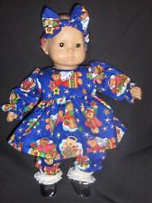 """Blue Christmas Angel Bear Dress Panties 15"""" Doll Clothes Made To Fit Bitty Baby"""