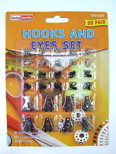 20 Eye Fasteners Black and Silver 8 Trousers Skirts Hooks sewing Knitting Repair