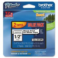 2 Brother TZ231 TZe231 12mm P-touch black on white GL200 PT1005BTS PT1290DT tape