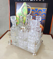 Victorian cut glass silver plate bottle cruet condiment oil vinegar set stand B