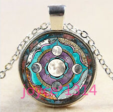 Vintage goddess Moon Cabochon Tibetan silver Glass Chain Pendant Necklace #3620