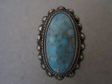 VINTAGE SILVER AND TURQUOISE RING...UNMARKED...SIZE 4 1/2...