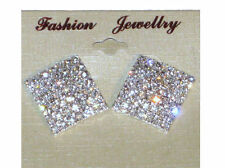 NEW (6140-14) Speical Occasion Large Square Bling Diamante Earrings Silver