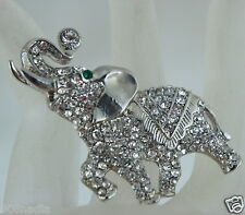 VINTAGE BROOCH/PIN SILVER TONE,WHITE RHINESTONES OR CRYSTAL ELEPHANT