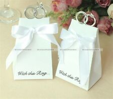 50 Pcs Wedding Party White Diamond Ring Style Gift Box Candy Favors Paper Bag S8