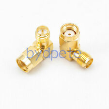 2 pcs RP-SMA male plug to RP-SMA female right angle 90 degree Connector Adapter