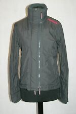 Womens Superdry Windcheater Jacket in dark grey/ pink. size small uk 8