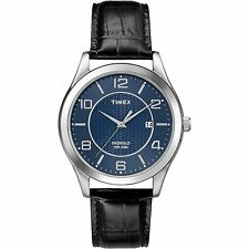 Timex T2P451, Men's, Black Leather Watch, Blue Dial, Indiglo, Date T2P4519J