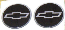 "4 NEW STYLE CHEVY DOMED  SILVER&BLACK&SILVER 1 3/4 "" CENTER CAP STICKER DECALS"