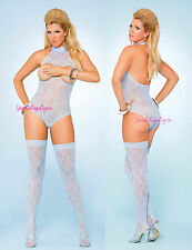 Plus Size CUPLESS HALTER TEDDY Lace Top Thigh High Stockings FLORAL Baby Blue