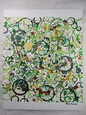 Phil Pierre - GREEN BUBBLES 031 - new original abstract painting - cotton canvas