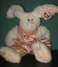 "ATTIC TREASURES BEANIE SARA WHITE BUNNY ROSE VELOUR JUMPSUIT 11"" H JOINTED EUC"
