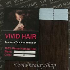 10pcs 22inches Remy Seamless Tape Skin Weft Human Hair Extension Medium Brown #4