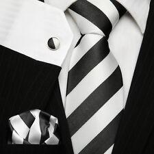 Men's School College Club Necktie Black & White Striped Silk Tie Set UK Stock