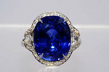 $440,000 13.75Ct AGL Cert Tiffany & Co. Natural Sapphire & Diamond Platinum Ring