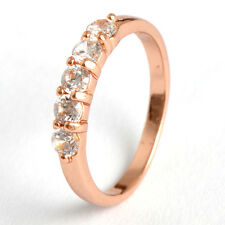 Hot Fashion 9K Rose Gold Filled Flawless CZ Womens Wedding Rings Size 6