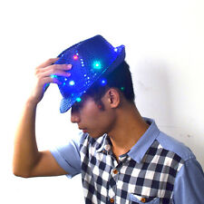 50pc/Lot Men Boy LED Flashing Party Fedora Sequins Light Up Jazz Cap Hip Hop Hat