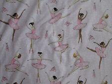 BALLERINA BALLET DANCERS SHOES GLITTER PINK COTTON FABRIC BTHY